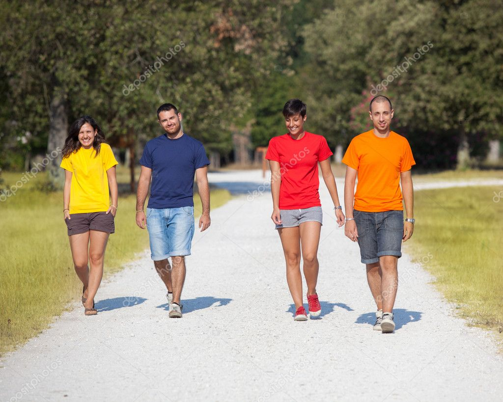 Group of Walking Outside  Stock Photo #11901742