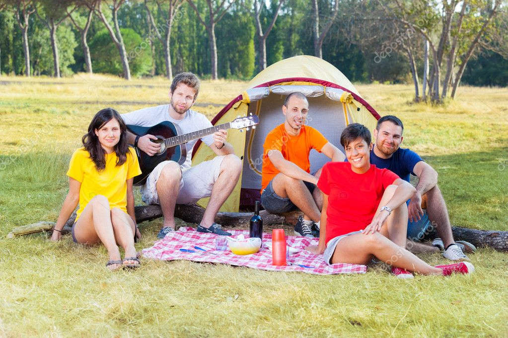 Group of Camping and Singing — Stock Photo #11921982
