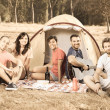 Stock Photo: Group of Camping and Singing