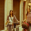 Royalty-Free Stock Photo: Two Beautiful Women Walking in the City with Bicycles and Bags