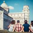 Four Friends on Vacation Visiting Pisa — Stock Photo