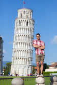 Young Boy Posing with Leaning Tower in Pisa — Stok fotoğraf