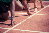 Two Track and Field Athletes before the Race Start — Stock Photo