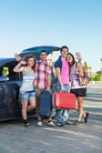 Four Friends Ready to Leave For Vacation — Stockfoto