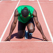Male Track and Field Athlete before the Race Start — Foto Stock