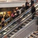 On Escalator — Stock Photo