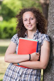 Young Beautiful Female Student at Park — Stock Photo
