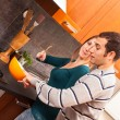Man Trying to Taste Something in the Kitchen — Stock Photo