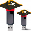 Stock Vector: Pirate USB flash drive
