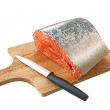 Salmon on a cutting board — Stock Photo
