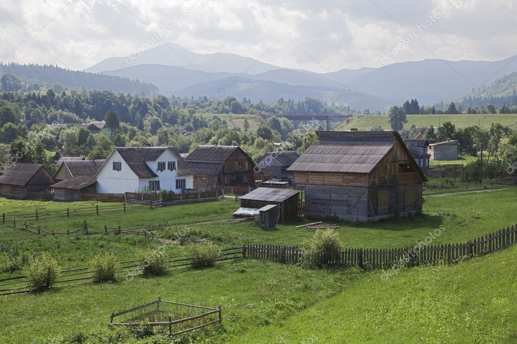 Village in Eastern Carpathian mountains - traditional way of life  Stock Photo #10816037