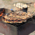 Marinated pork on grill — Stock Photo #11082396