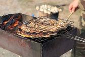 Marinated pork on grill — Stock Photo