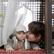 Stock Photo: Mother and child in pergola
