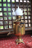 Copper samovar with teapot — Stock Photo