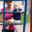 Stock Photo: Baby climbing step ladder