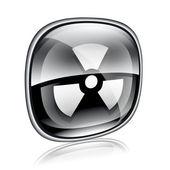 Radioactive icon black glass, isolated on white background. — Stock Photo