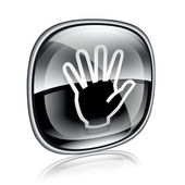 Hand icon black glass, isolated on white background. — Stock Photo