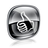 Thumb up icon black glass, isolated on white background. — Stock Photo