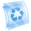 Recycling symbol icon blue square, isolated on white background. - Lizenzfreies Foto