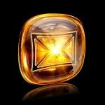 Envelope icon amber, isolated on black background — Stock Photo