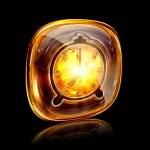 Clock icon amber, isolated on black background — Stock Photo #11783300