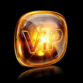 Vip icon amber, isolated on black background — Stock Photo