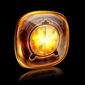 Clock icon amber, isolated on black background — Stock Photo