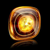 Play icon amber, isolated on black background — Stock Photo