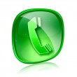 Phone icon green glass, isolated on white background. — Stock Photo