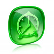 Stock Photo: Clock icon green glass, isolated on white background