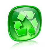 Recycling symbol icon green glass, isolated on white background. — Stock Photo