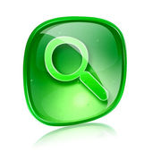Magnifier icon green glass, isolated on white background. — Stock Photo