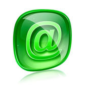 Email icon green glass, isolated on white background. — Stock Photo