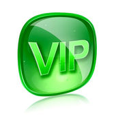 VIP icon green glass, isolated on white background. — Stock Photo