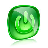 Power icon green glass, isolated on white background. — 图库照片