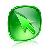 Strzałka zielona ikona szkła, na białym tle — Zdjęcie stockowe