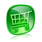 Shopping cart icon green glass, isolated on white background. — Stock Photo