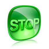 Stop icon green glass, isolated on white background — 图库照片