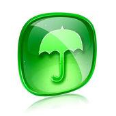 Umbrella icon green glass, isolated on white background — Stock Photo
