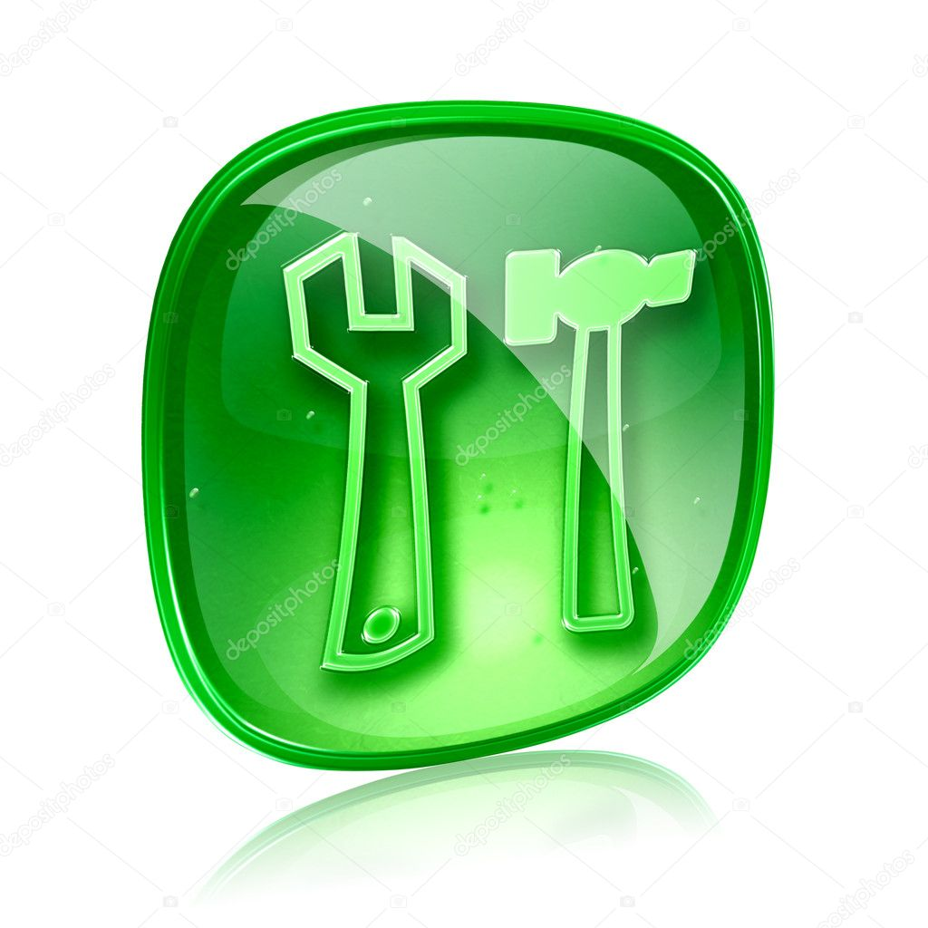 Tools icon green glass, isolated on white background. — Stock Photo #11898785