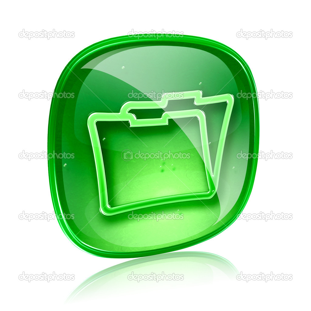 Folder icon green glass, isolated on white background  Stock Photo #11898786