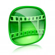 Film icon green glass, isolated on white background. — Stock Photo