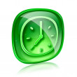 Clock icon green glass, isolated on white background — Stock Photo