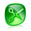 Scissors icon green glass, isolated on white background. — Stock Photo