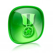 Medal icon green glass, isolated on white background. — Stock Photo