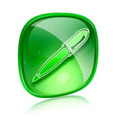 Pen icon green glass, isolated on white background. — 图库照片