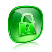 Lock icon green glass, isolated on white background. — Photo