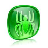 Virus icon green glass, isolated on white background. — Stock Photo