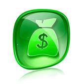 ドル アイコン緑色のガラス、白い背景で隔離. — ストック写真